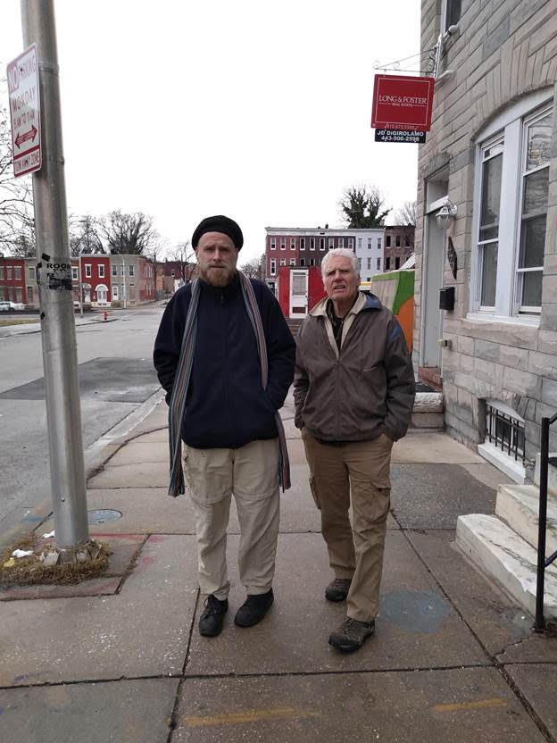 Joe Byrne, left, and Brayton in West Baltimore near Harriet Tubman House